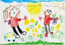 Siin on kaks sõpra, Andreas ja Jarko, kes on hästi rõõmsad, sest täna on neil kommi päev. Nad käisid poest kommi ostmas. See on väga tähtis, et sul on hea sõber, kellega koos mängida ja rõõmus olla. Autor: Andreas Sadam 5a, Alasniidu lastead