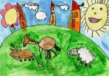 Minu tuleviku Vormsil ja tuleviku Eestis on kõik uus ja majad on teistsugused, nagu pliiatsid. Õnnelikud loomad saavad vabalt ringi jalutada. Autor: Gertlin Kanarbik 5a, Vormsi lasteaed-põhikool