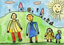Minu tuleviku Vormsi ehk osake tuleviku Eestist, kus on palju lapsi ja kõigil lastel on rahvariided. Elu on rõõmus ja õnnelik. Autor: Katarina Kõiveer 5a, Vormsi lasteaed-põhikool