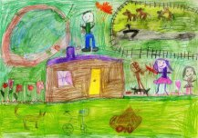 See on maakodu. Meie, lapsed ja isa, teeme lõket. Kodus on palju loomi - koer sööb kausi juures, tiigis on konn ja tigu. Lilled on maja nurga juures. Hobused vigurdavav ja koppavad aias. Mina toon puid, et lõket teha. Tuleb juba sügis ja külmaks läheb. Autor: Lenne Grünberg 5a, Mooste lasteaed