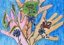 Mu ema, õe ja minu käed - meie kätes on meie Eesti tulevik. Mulle meeldib elada maal. Maal peab elama palju lapsi ja peresid, sest siin on värske õhk, ilus loodus ja puhas toit. Ma ei taha sõda. Meie rahu valvavad kaitsevägi ja NATO lennukid. Autor: Martin Alton 8a, Simuna kool