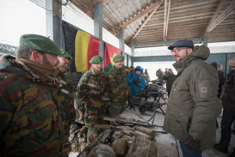 Belgian Prime Minister Charles Michel meeting with the Belgian unit of the NATO Battle Group currently stationed in Estonia
