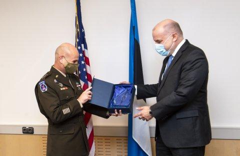 USA Euroopa maavägede ülem kindral Christopher G. Cavoli ja kaitseminister Jüri Luik. Foto: Marko Mumm/ICDS