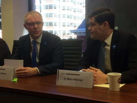 Minister of Defence Hannes Hanso and the chairman of CEPA Wess Mitchell