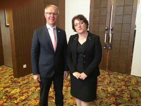 Estonian Minister of Defence Hannes Hanso discussing defence related cooperation with Georgian Minister of Defence Tinatin Khidasheli.