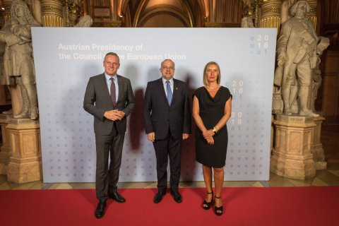 Pictured (from the left): Austrian Defence Minister Mario Kunasek, Estonian Defence Minister Jüri Luik, and Federica Mogherini, High Representative of the European Union for Foreign Affairs and Security Policy.