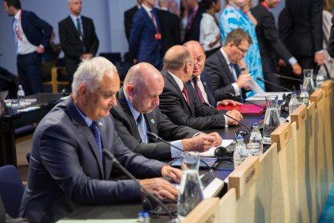 Kaitseminister Jüri Luik Euroopa Liidu kaitseministrite mitteametlikul kohtumisel Helsingis.