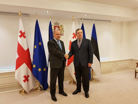Jüri Luik (left) met in Tbilisi, Georgia, with Prime Minister Giorgi Kvirikashvili
