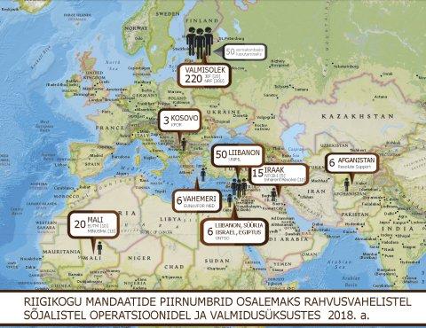 Riigikogu mandaatide piirnumbrid osalemaks rahvusvahelistel sõjalistel operatsioonidel ja valmidusüksustes 2018. aastal